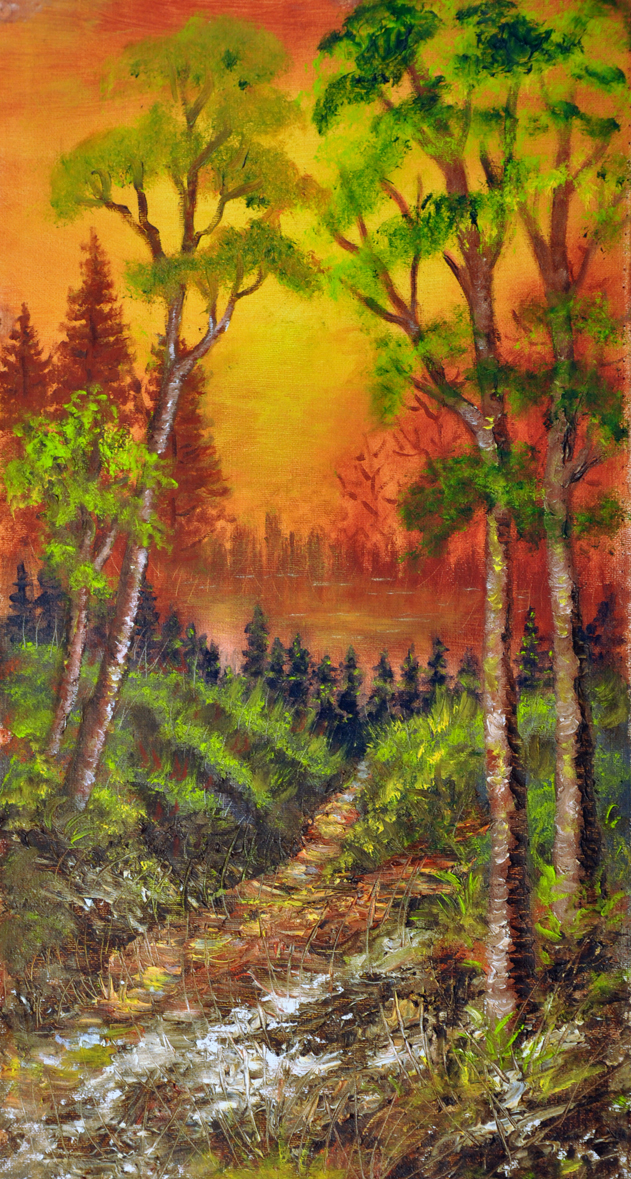 Oil painting on canvas- wood path to the lake-small.jpg