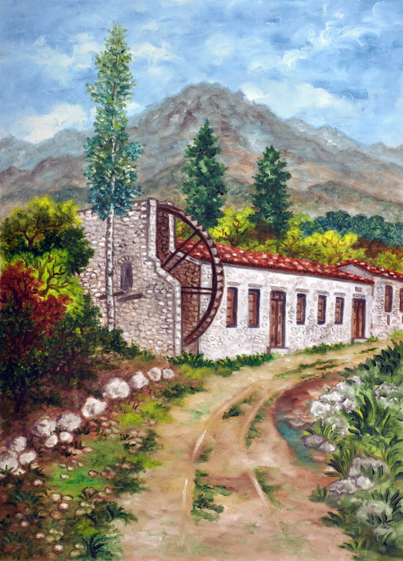 Oil painting on canvas- path to the water mill-small.jpg
