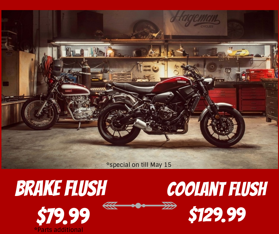 Did you know that brake fluid & coolant are some of the most common thing's that riders don't often check seasonally?                                                                                    It is recommended that brake fluid & coolant are flushed & changed every two seasons.                                                                          Service Special on till May 15.  Come down for a FREE INSPECTION of your brakes & coolant! Book now!                                                                               Brake fluid flush Regular $120. SALE $79.99  —— Coolant Flush Regular $179.95. SALE $129.99                                                                                                                  *Fluid is additional.    We work on all makes & models!