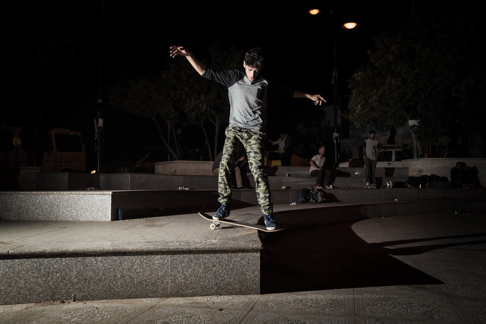 Aram boardslides at the Plaza in Ramallah, 2015. Photo: Emil Agerskov