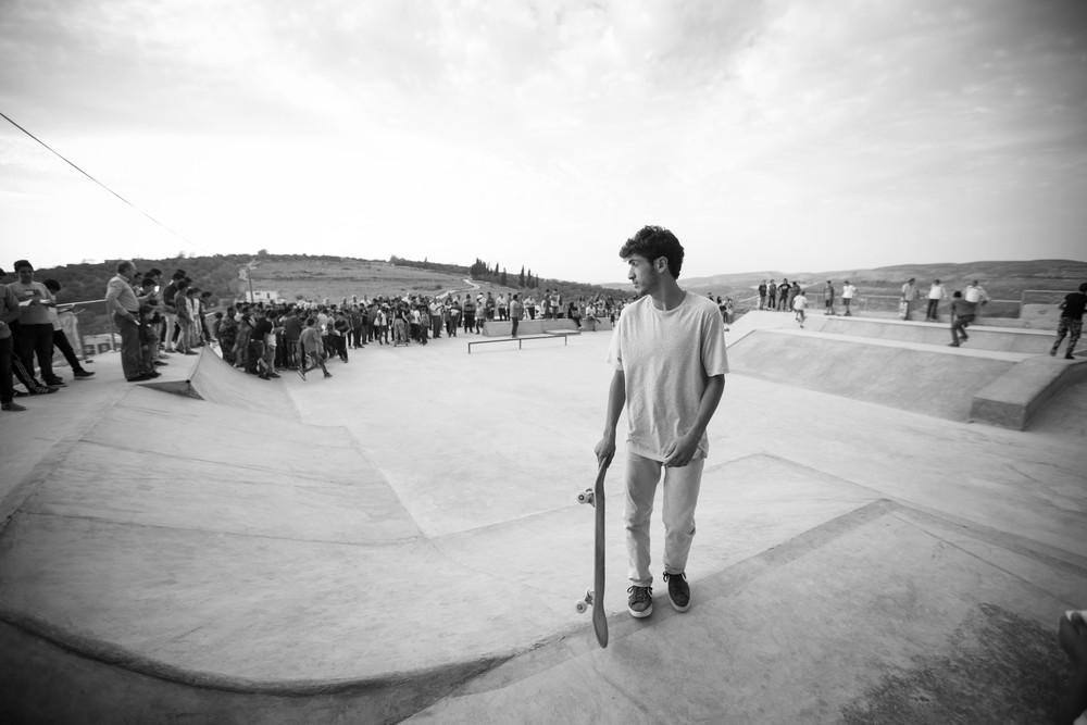 Aram during the opening ceremony at Rosa Park, Asira Al-Shamaliya, 2015. Photo: Emil Agerskov