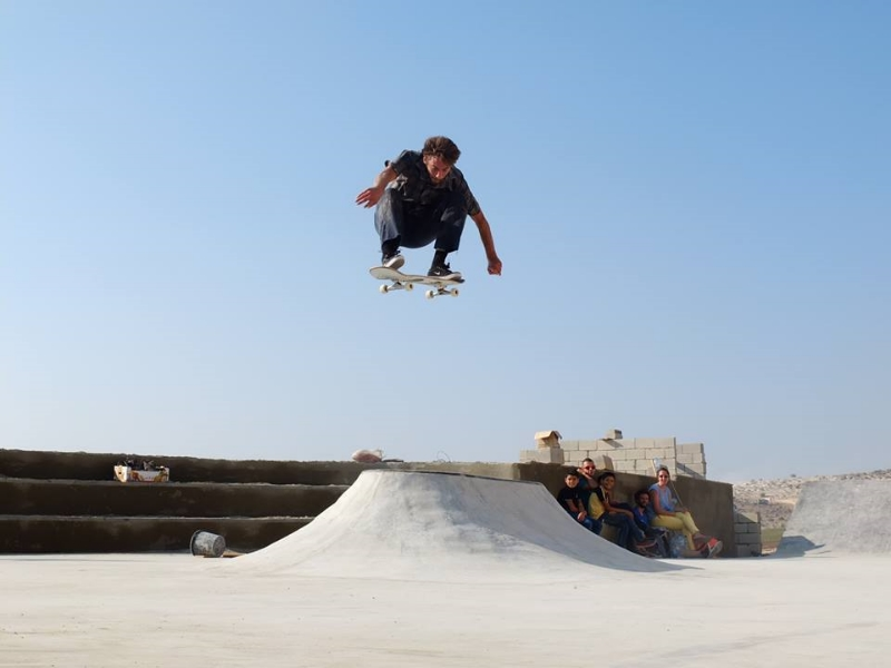 Volcano ollie at Zebabdeh skatepark, 2014. Photo: Martin O Grady