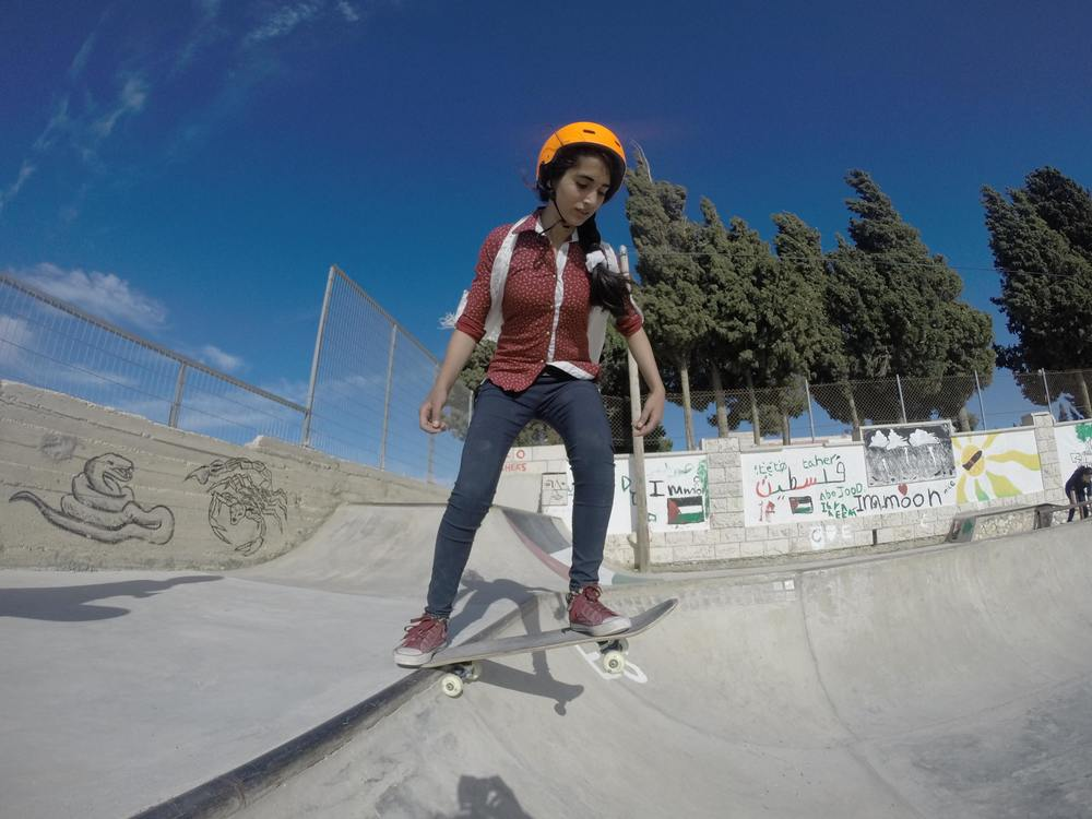 Meenas on the mini-ramp