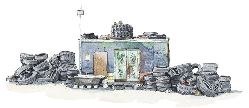 Tyre shop, Asira Al-Shamaliya
