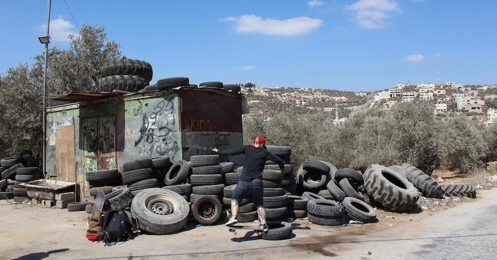 Skating the tyre shop. Photo: Paula Viidu