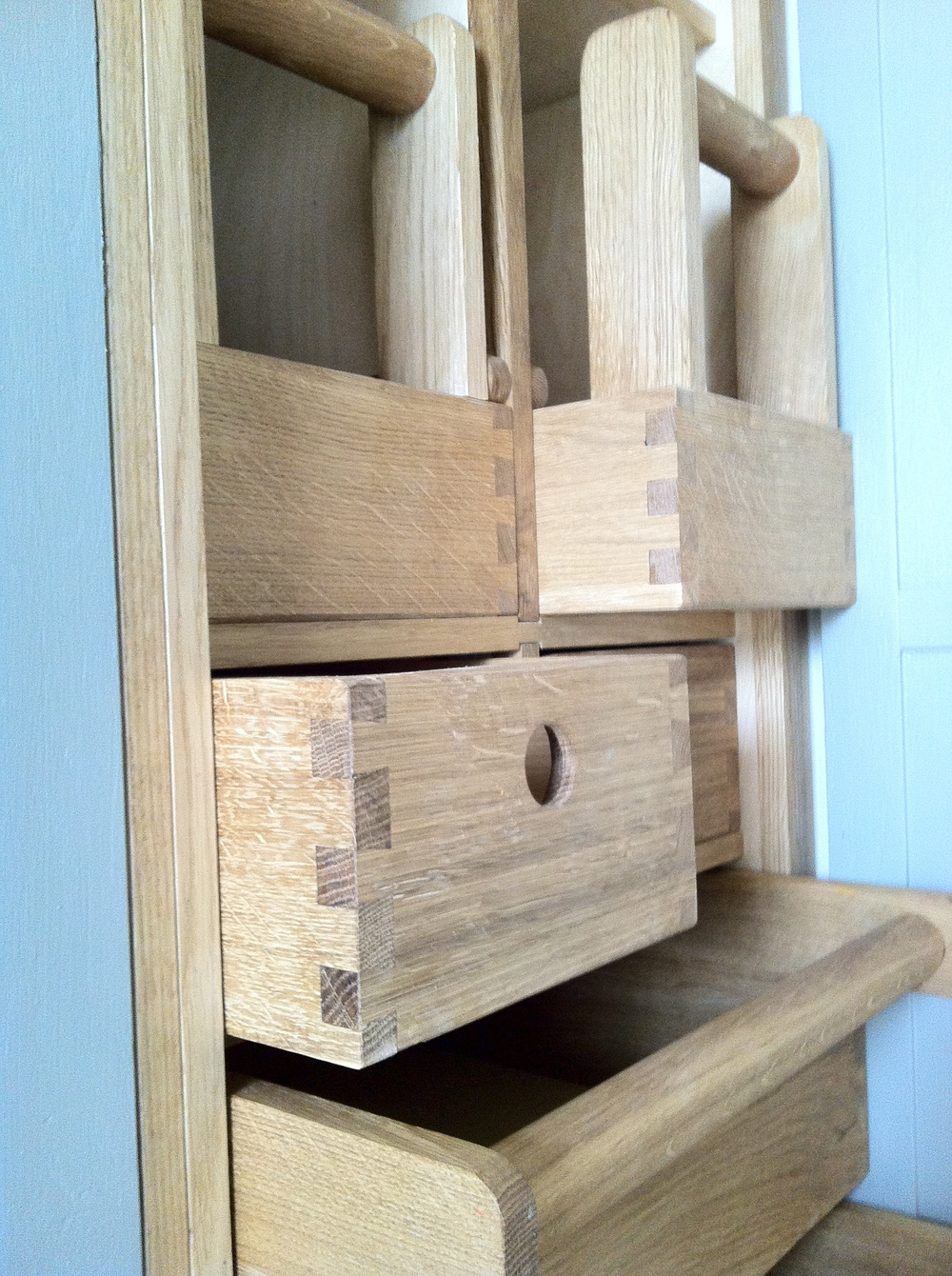 Dovetailed oak drawers