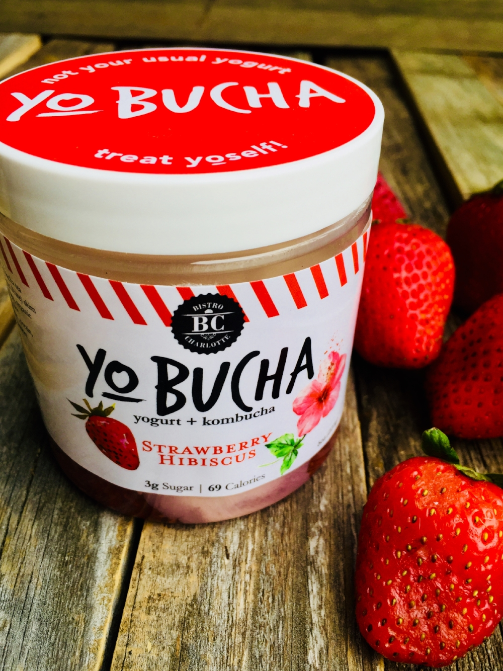 Strawberry Hibiscus Yo-Bucha - A favorite among kids! Sweet strawberry blends perfectly with the flavor of floral hibiscus and tart kombucha tea. Tastes great for breakfast topped off with some granola or as as a healthy alternative for dessert.
