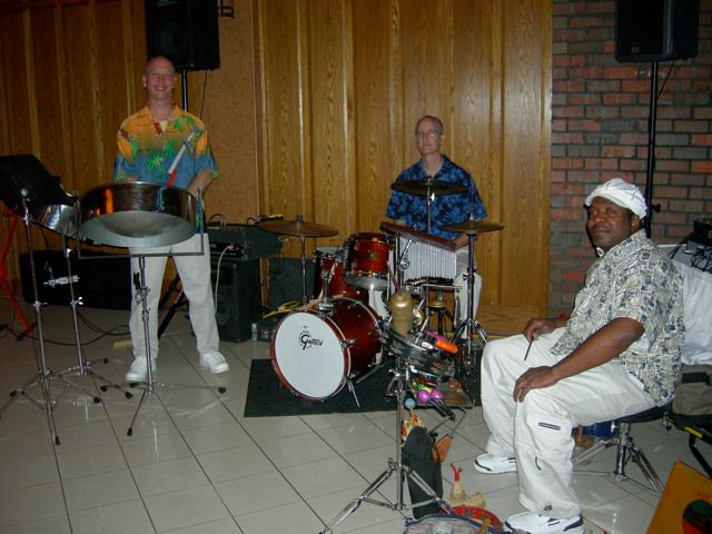 Mark, with Paul Ross on drum set, and Paul Cotton on percussion. This is our 4 piece version of the band (Jan not pictured).