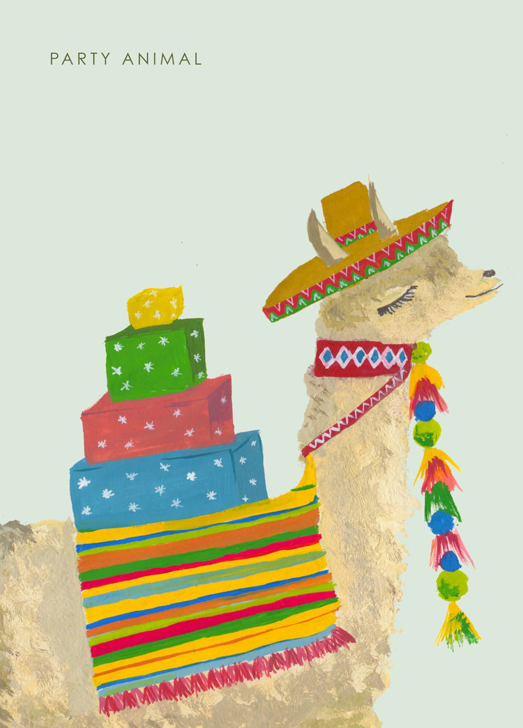 PARTY LLAMA BIRTHDAY CARD