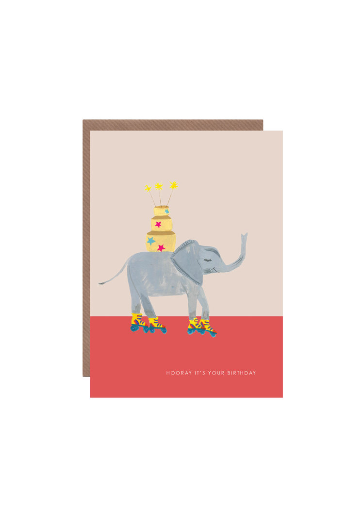 ELEPHANT ON SKATES BIRTHDAY CARD