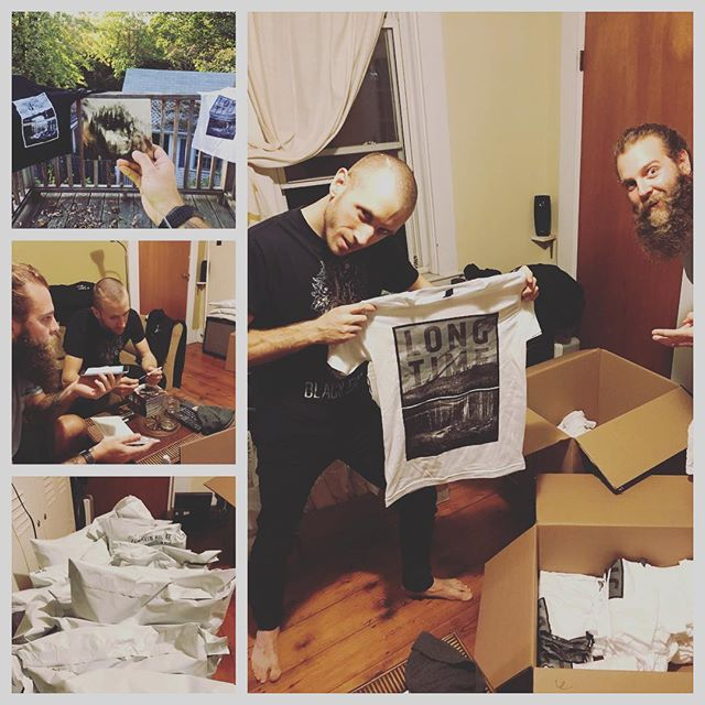 We had some fun last night! We did the ole 2 for 1 by doing a fun radio/podcast interview with New Music Inferno, and packing up all of the merch pre-sale orders to ship out to you fine people - they're on their way!