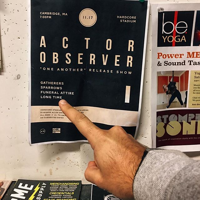 """TONIGHT IN CAMBRIDGE!! We're kicking off the night for Actor Observer's 7"""" release show with a handful of other rad bands so come tear your face off with us at Hardcore Stadium/Massasoit Elks Lodge - We get the party started at 730 sharp!"""