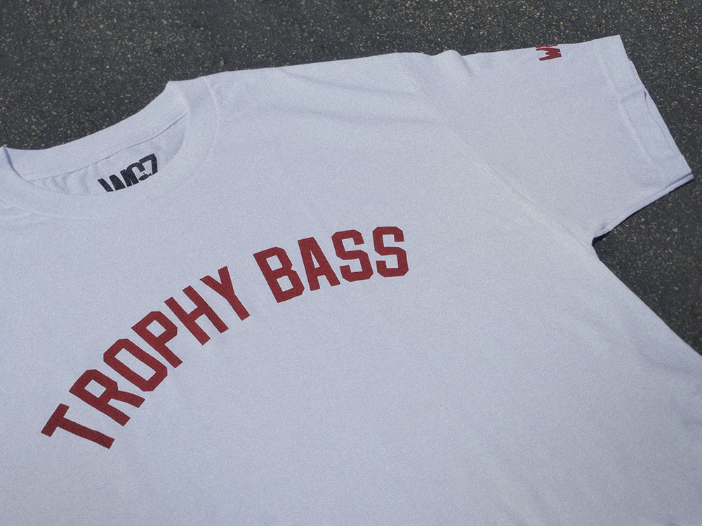 Trophy Bass Short Sleeve Shirt Large Trophy Bass logo across the front with a small logo on the left sleeve. Comes in White/Red or Heather/Black. Made of premium cotton for a superior fit including the inside neck collar WCZ size label for tag less comfort.  Click here to purchase