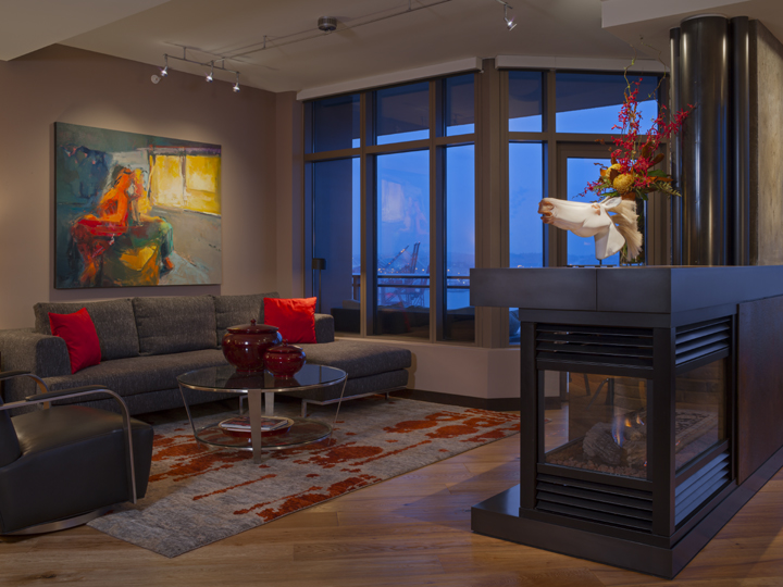 contemporary seattle living room with rusted metal surround over gas fireplace