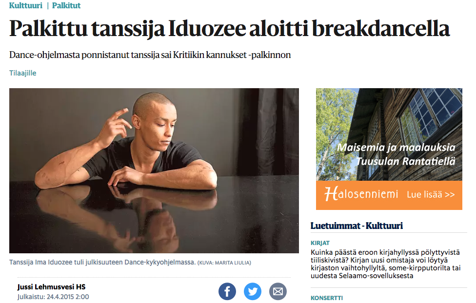 Helsingin Sanomat article after winning the Finnish Critics Associations Critics Spur Award. 24.4.2015