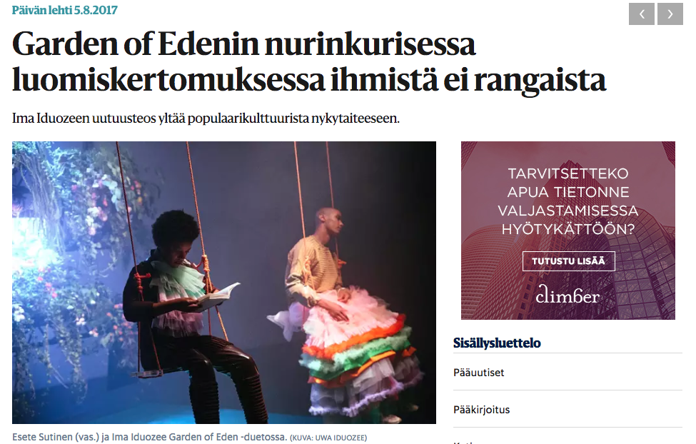 Helsingin Sanomat Review on Garden Of Eden. 5.8.2017