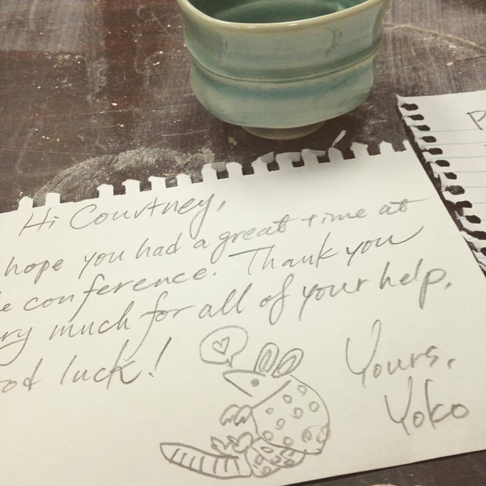 A note to me from Yoko Sekino Bove