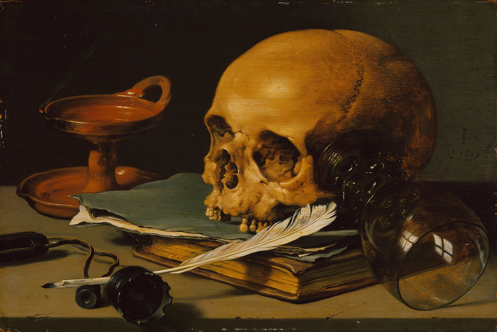 Pieter Claesz Still Life with a Skull and a Writing Quill from 1628