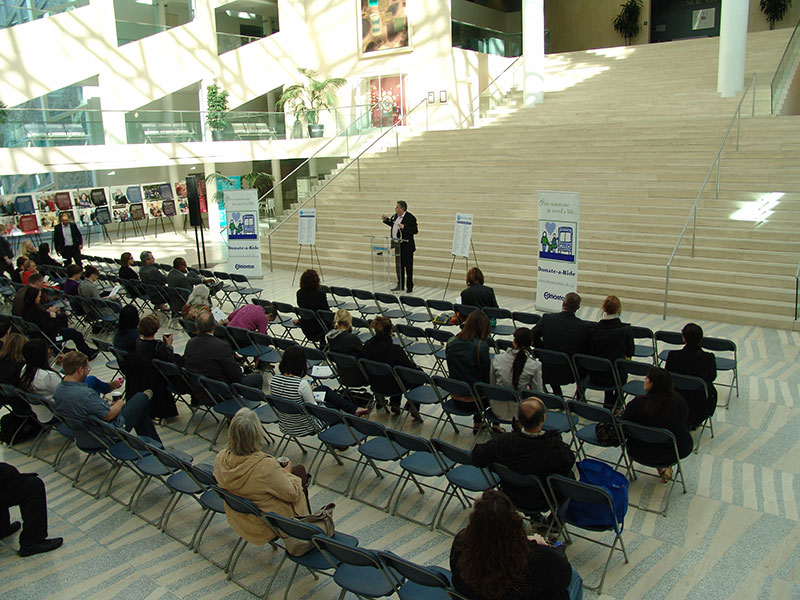 Councillor Dave Loken address donors, recipients, and participates of the 19th annual DONATE-A-RIDE campaign at City Hall on April 17, 2015.