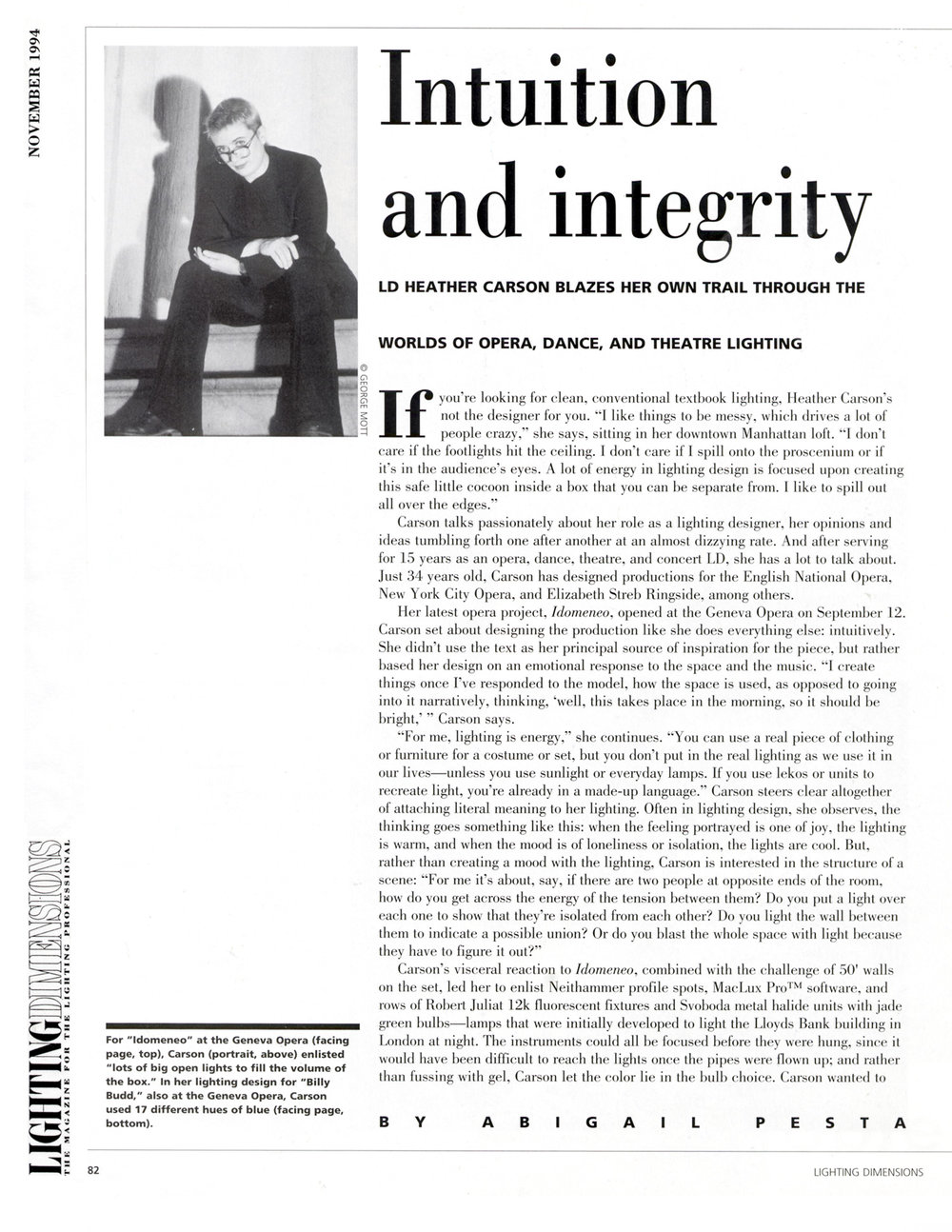 Intuition and integrity: LD Heather Carson Blazes Her Own Trail Through the Worlds of Opera, Dance, and Theatre Lighting
