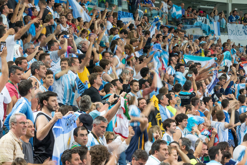 Fans cheering on the Argentina team