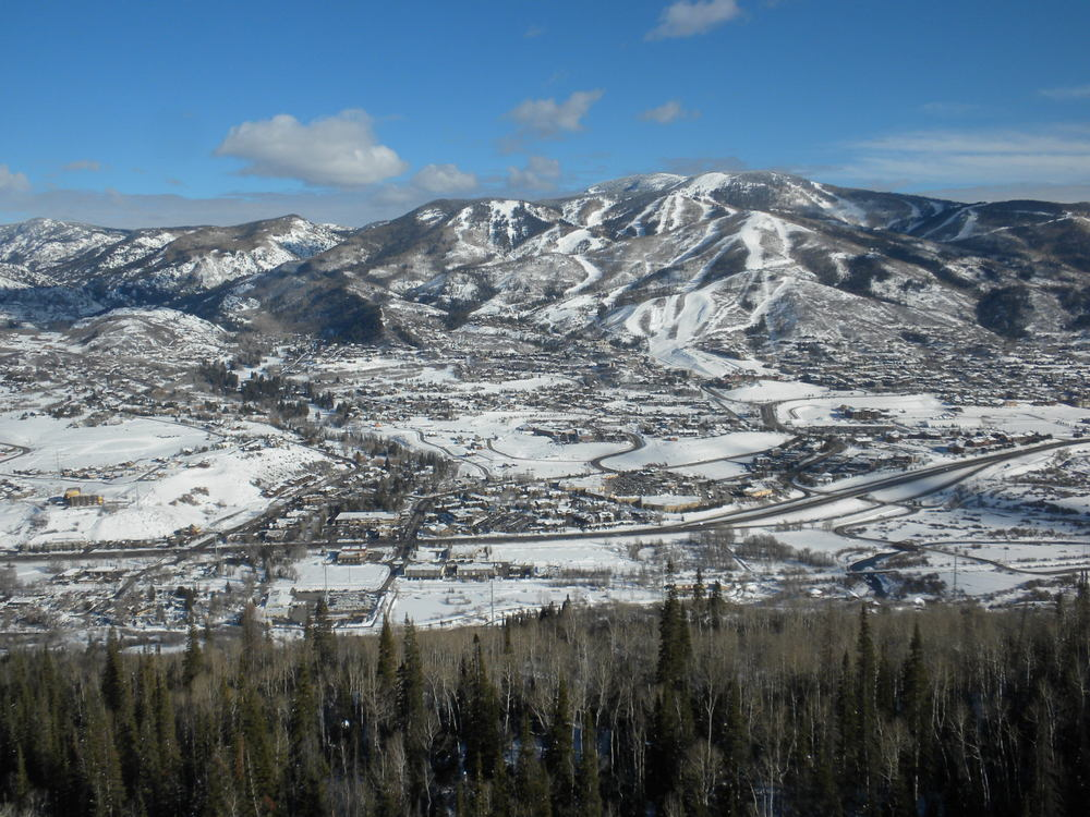 Steamboat Resort from across the valley on Emerald Mountain ... STEAMBOAT.COM.