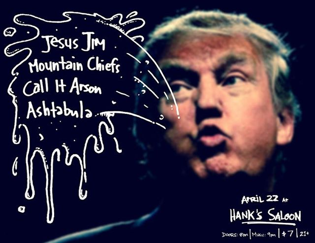 4.22 at @hankssaloon, Bklyn. W/ Jesus Jim, @themountainchiefs, Ashtabula. 9pm.