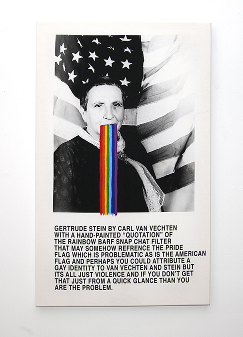 """Untitled (Gertrude by Carl with Rainbow) 2018 Pigment Print and Acrylic on Canvas 52"""" x 34"""""""