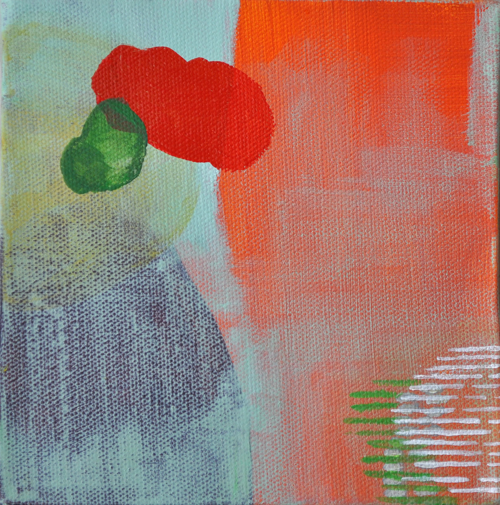 "Hanging Gardens of Babylon #1. Acrylic on canvas. 6""x 6"""