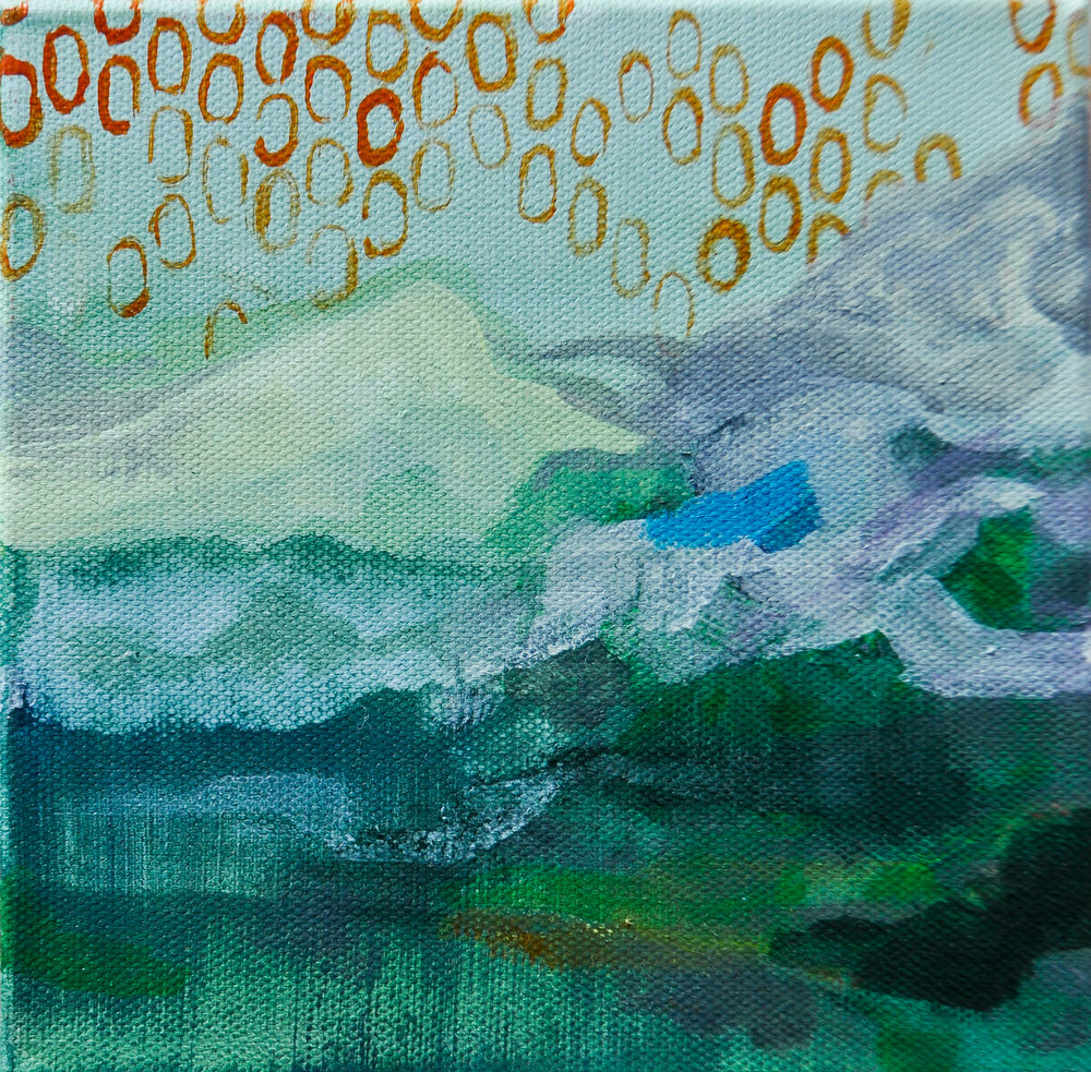 "Be a Mountain. Acrylic on canvas. 6""x 6"""