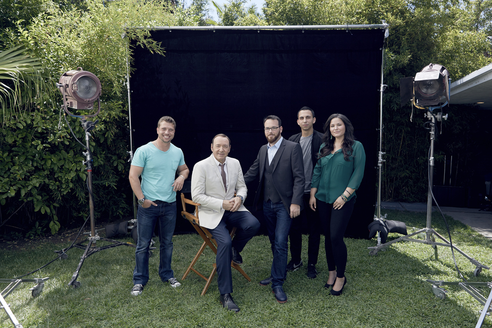 Kevin Spacey and his production team, July 2015