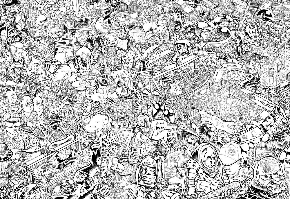"Assassination Nation   ink on paper  24 x 36 """
