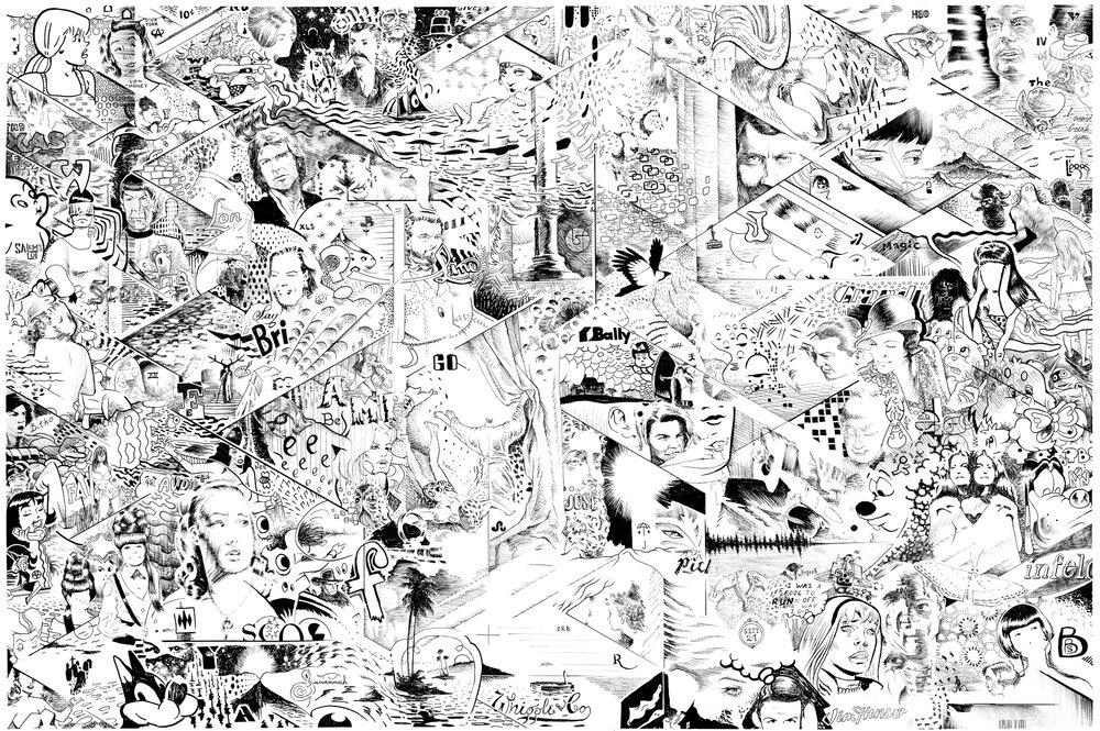"Science      ink on p  aper    24 x 36 ""    2015"