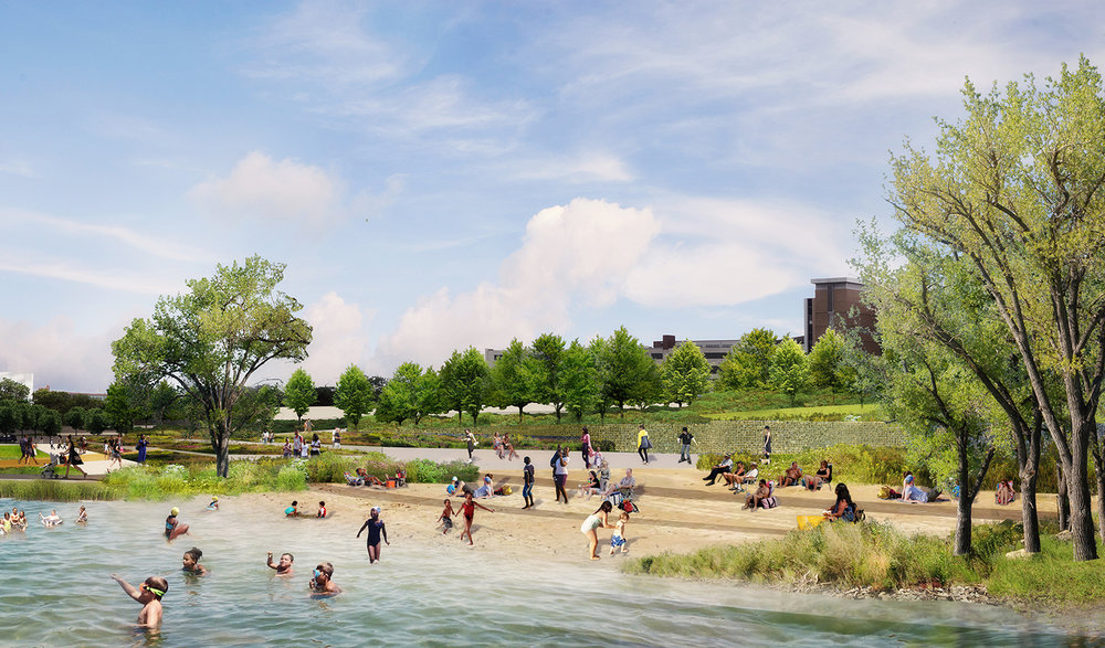 "The ""riverbank"" and ""may's creek beach"" provide equitable access to the river for all Detroiters and connects to Detroit's International Riverwalk."