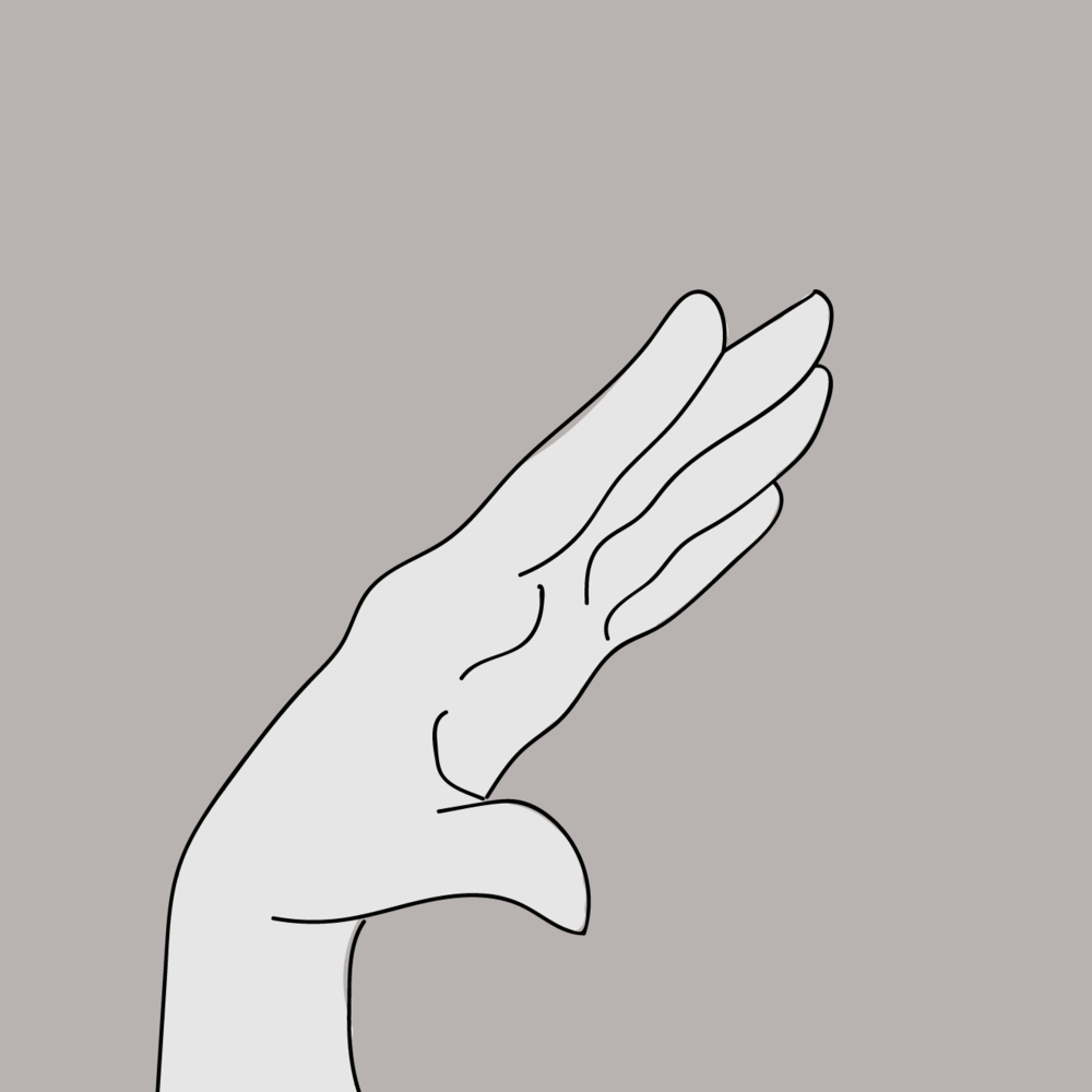 First Gesture - Once in the active space, the left hand can open and close, separating the tips of the fingers from the thumb. This controls the Grain Birth Rate, which is the time between when each grain starts playing. The wider the open hand, the greater the distance between the grains.