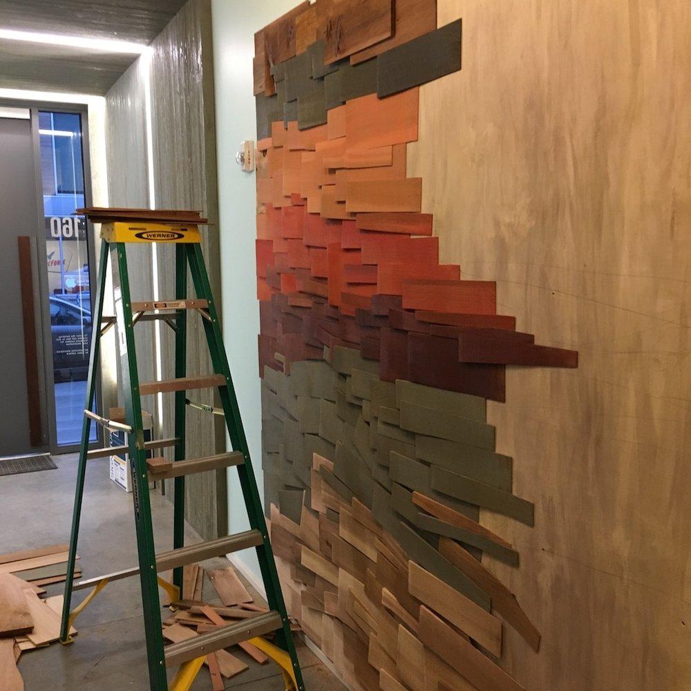 Custom wall installation, Framework Building, Portland, OR