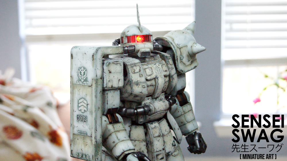 Winter camo whitewash Zaku II Ammo Mig Mega Scale 1:48
