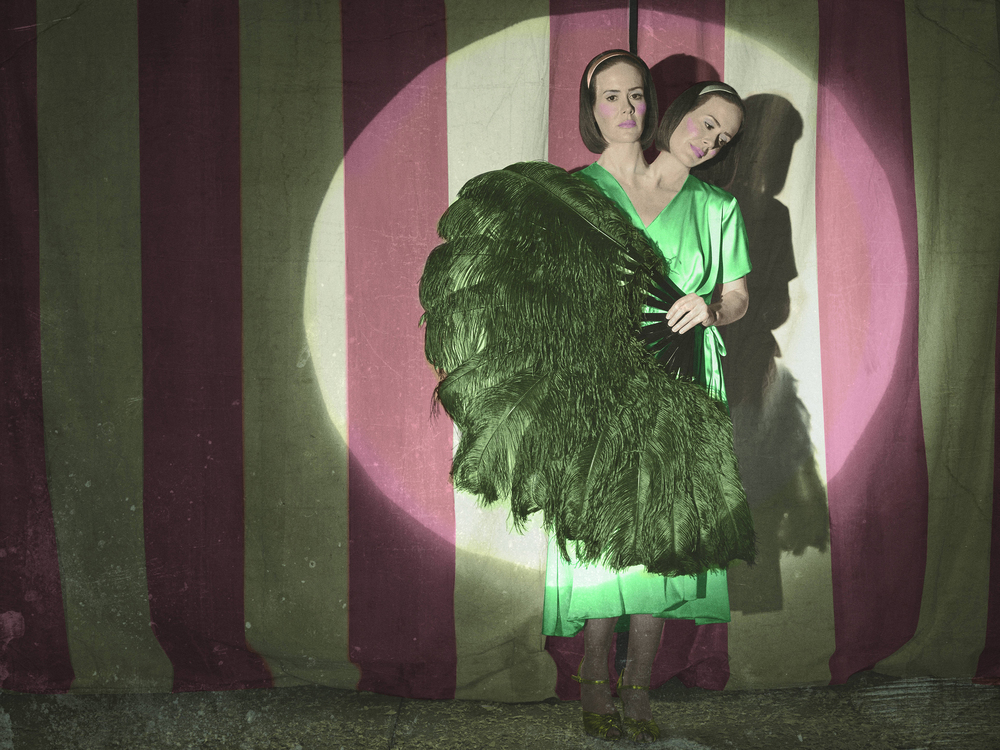 "Sarah Paulson, playing conjoined twins on last season's ""Freak Show."""