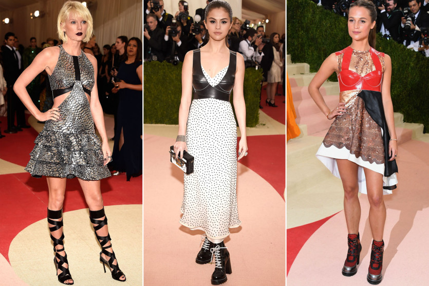 Taylor Swift, Selena Gomez and Alicia Vikander all wore Vuitton frocks to the Met Gala. Via Getty.