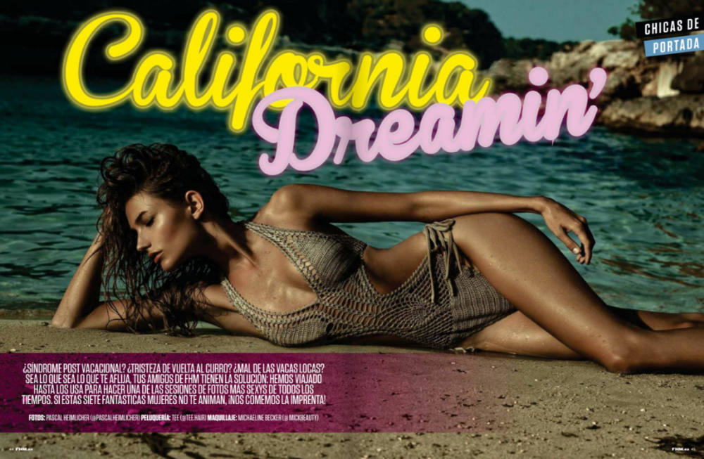 Makeup for California Dreamin' editorial // FHM Espana Sept 2016