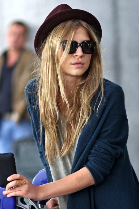 Le-Fashion-Blog-Airport-Look-Clemence-Poesy-Parisian-Casual-Burgundy-Hat-Cat-Eye-Sunglasses-Teal-Cardigan-1