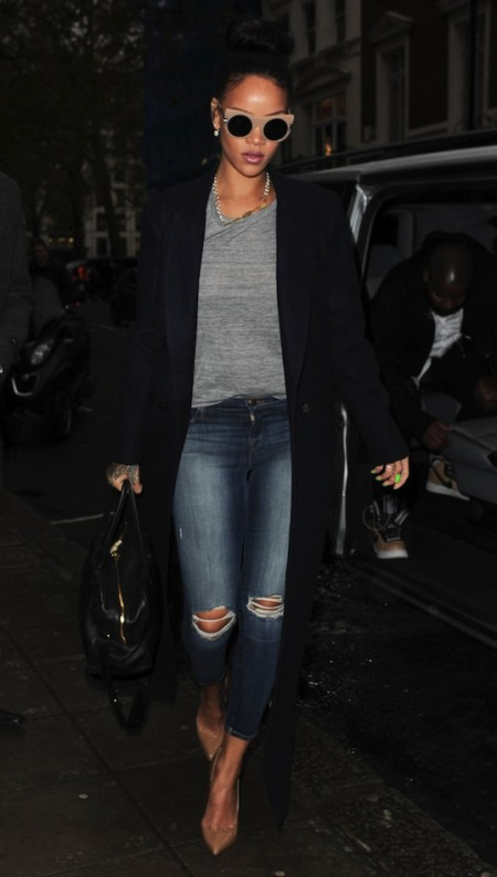 Le-Fashion-Blog-Rihanna-London-Style-Stella-McCartney-Nude-Peaked-Temple-Sunglasses-Long-Coat-Tee-Distressed-Denim-Heels