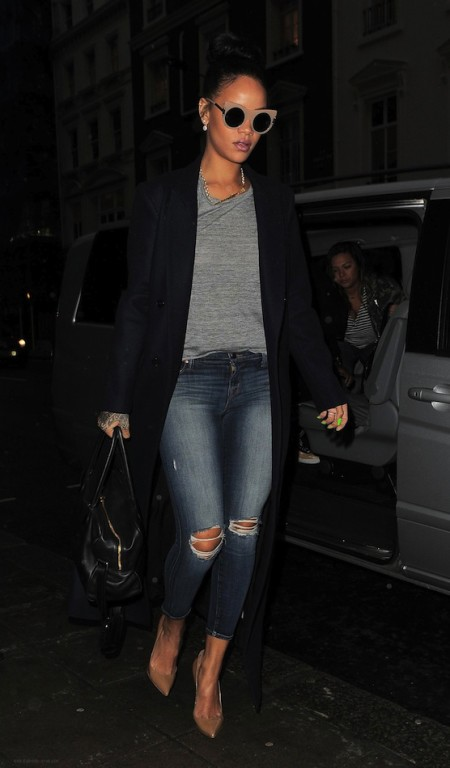 Le-Fashion-Blog-Rihanna-London-Style-Stella-McCartney-Nude-Cat-Eye-Sunglasses-Long-Coat-Tee-Distressed-Skinny-Jeans-Pumps