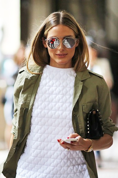2-Le-Fashion-Blog-15-Ways-To-Wear-A-Green-Army-Jacket-Olivia-Palermo-Street-Style-Mirrored-Sunglasses-Via-Teen-Vogue