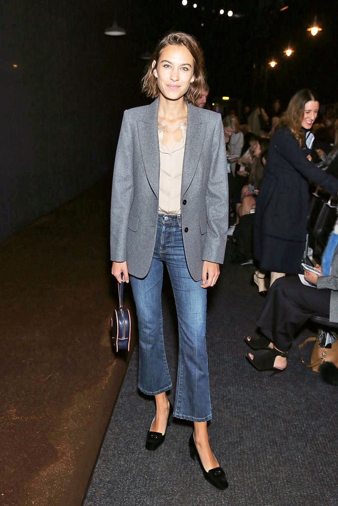 Le-Fashion-Blog-Alexa-Chung-Cropped-Flared-Denim-Short-Hair-Grey-Blazer-Nude-Button-Down-Shirt-Hillier-Bartley-Bunny-Bag-SS16-Front-Row-Via-Harpers-Bazaar-Spain.jpg