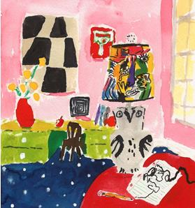 Bella Foster Owl Lamp, 2010 Watercolor on paper  Framed 10 x 8 1/2 inches