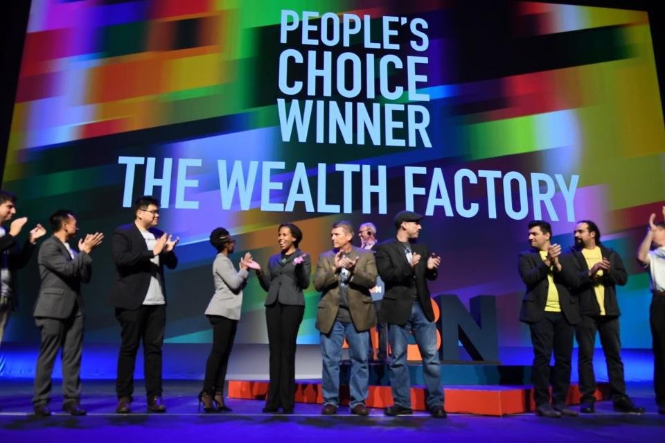 "Runner-up ""The Wealth Factory"" took home the $10K ""Peoples Choice"" award after audience members texted their votes. (photo: Nancy J. Parisi)"