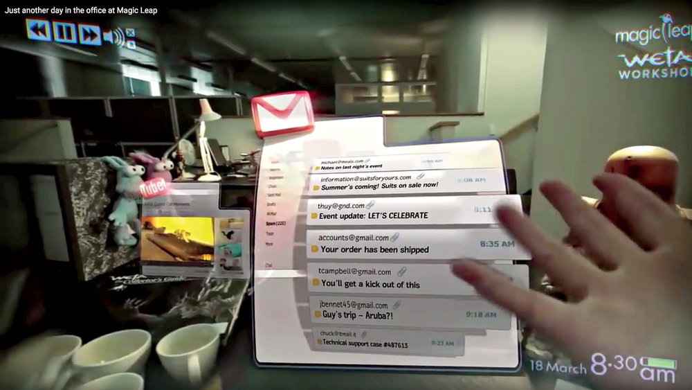 Email of the future? A virtual desktop, atop an actual desktop, conveyed through Magic Leap's prototype headset.