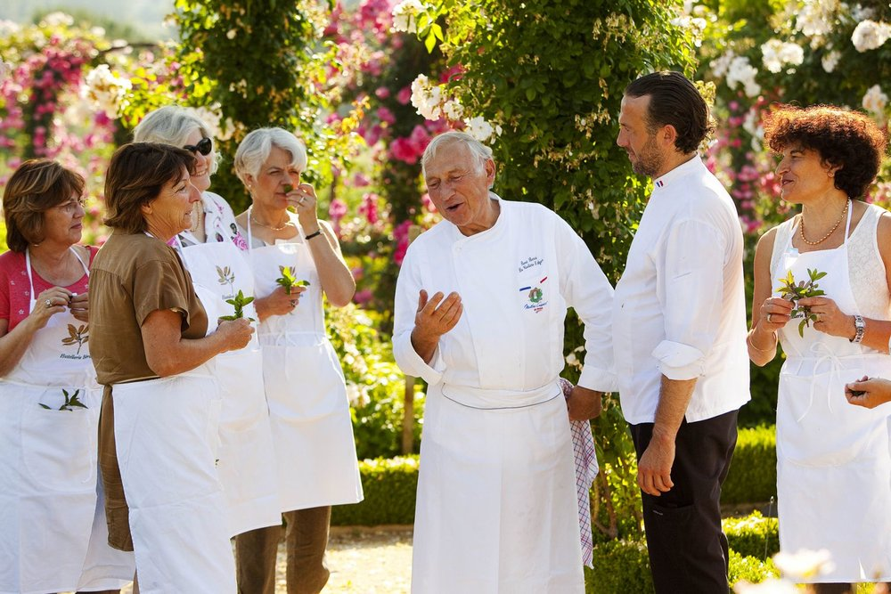 Chef Réne Bérard: Passionate about cooking from childhood, René Bérard gives pride of place to his talents as a chef in his hotel in La Cadière d'Azur, an establishment he's been running with his family since 1969 and where he offers his guests a getaway devoted to the Provencal way of life.  In the kitchen, fresh produce, fruit and vegetables from his garden and Provençal condiments find their way to the table by way of recipes prepared with love and skill.
