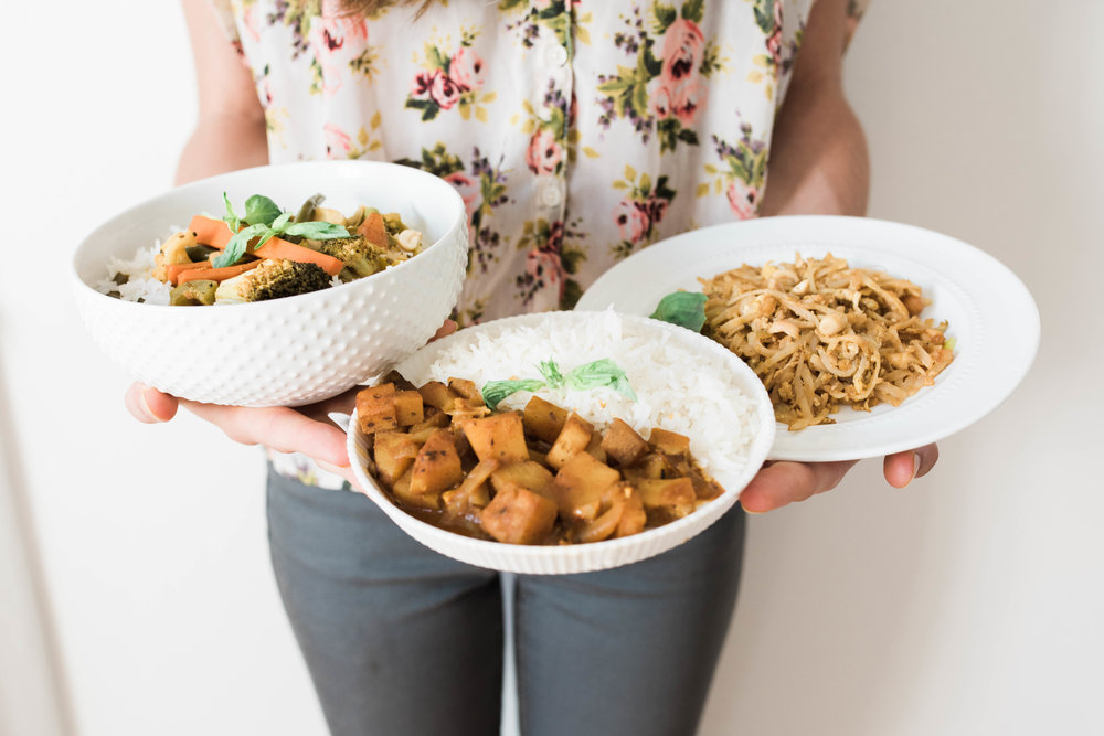 From left to right:  Panang Veggie Curry ,  Massaman Curry , and  Pad Thai  (Click on dish for recipe)